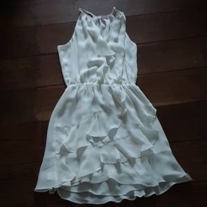 Parker ivory ruffle dress xxs